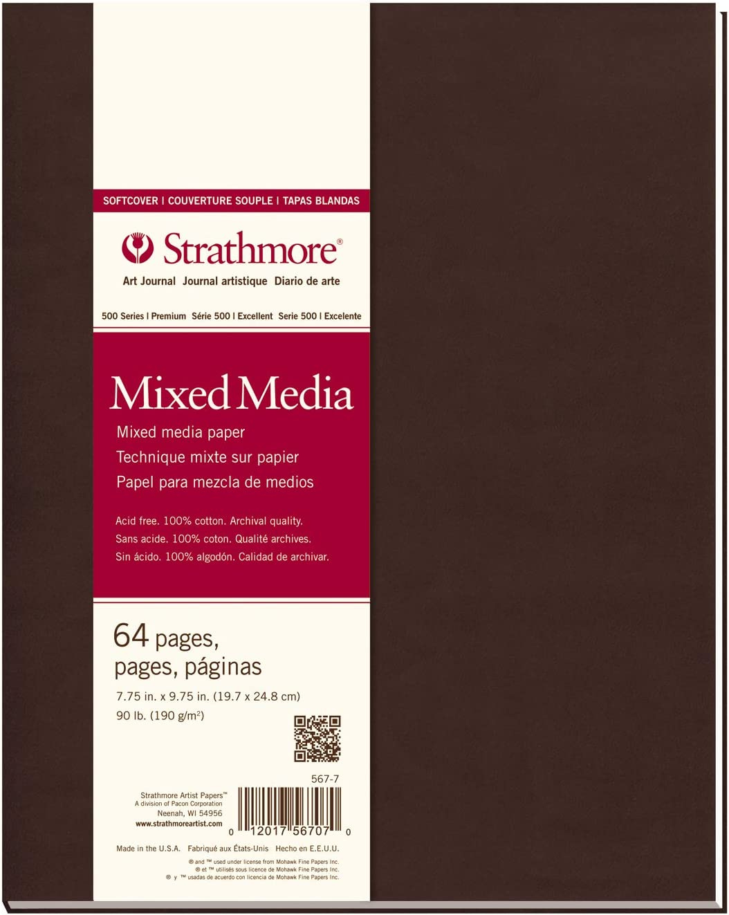 Toned Gray Strathmore Softcover Mixed Media Art Journal 48 Pages 7.75-inch x 9.75-inch