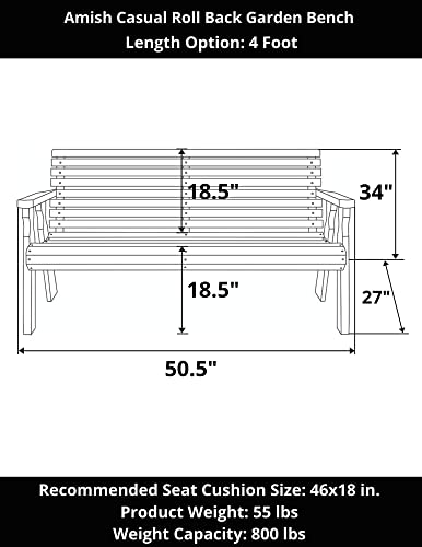 Amish Heavy Duty 800 Lb Roll Back Pressure Treated Garden Bench 4 Foot