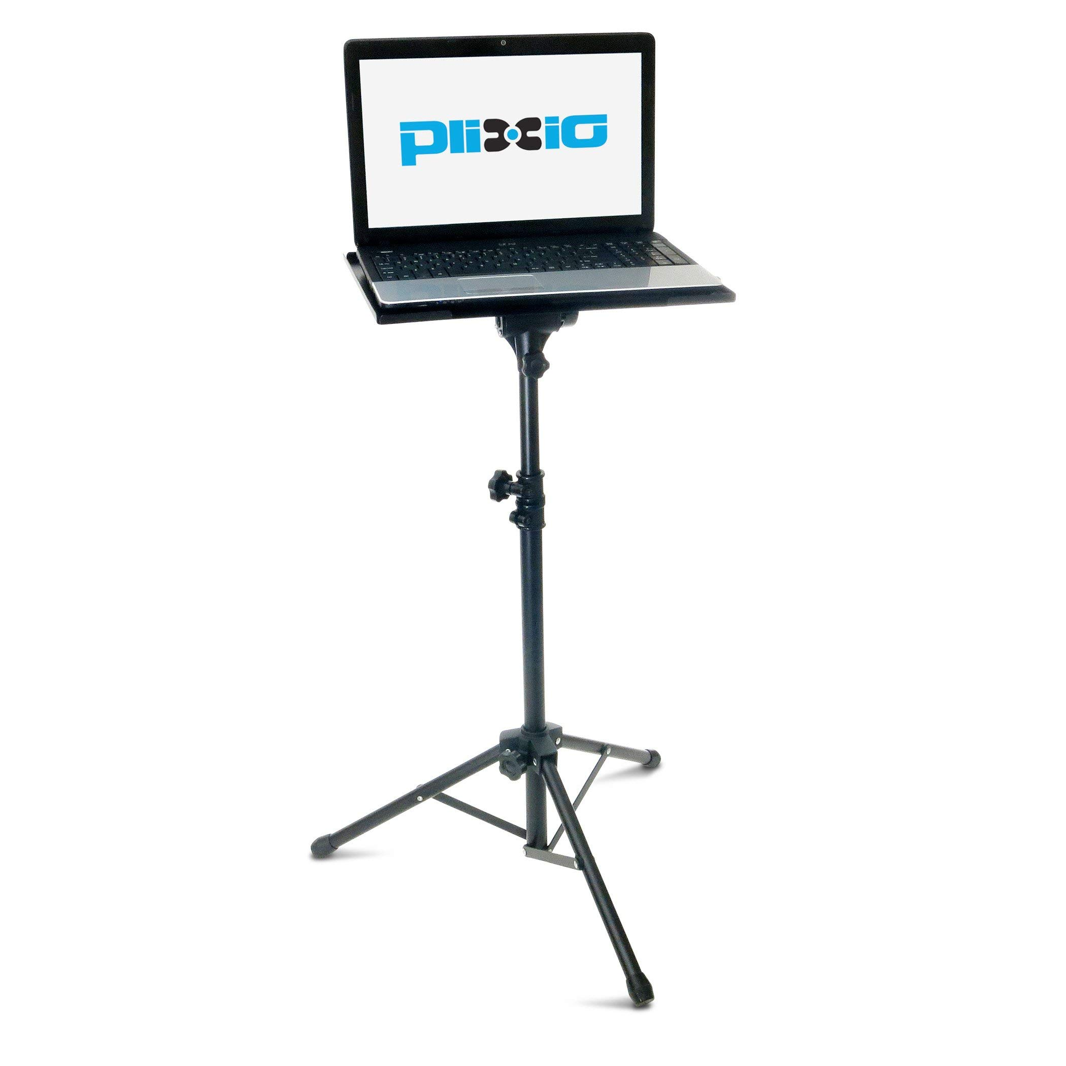 Plixio Adjustable Laptop Projector Stand - Portable Podium Tripod Mount, DJ Mixer Stand Up Desk Computer Stand Tray and Holder (27'' to 48'') (Renewed)