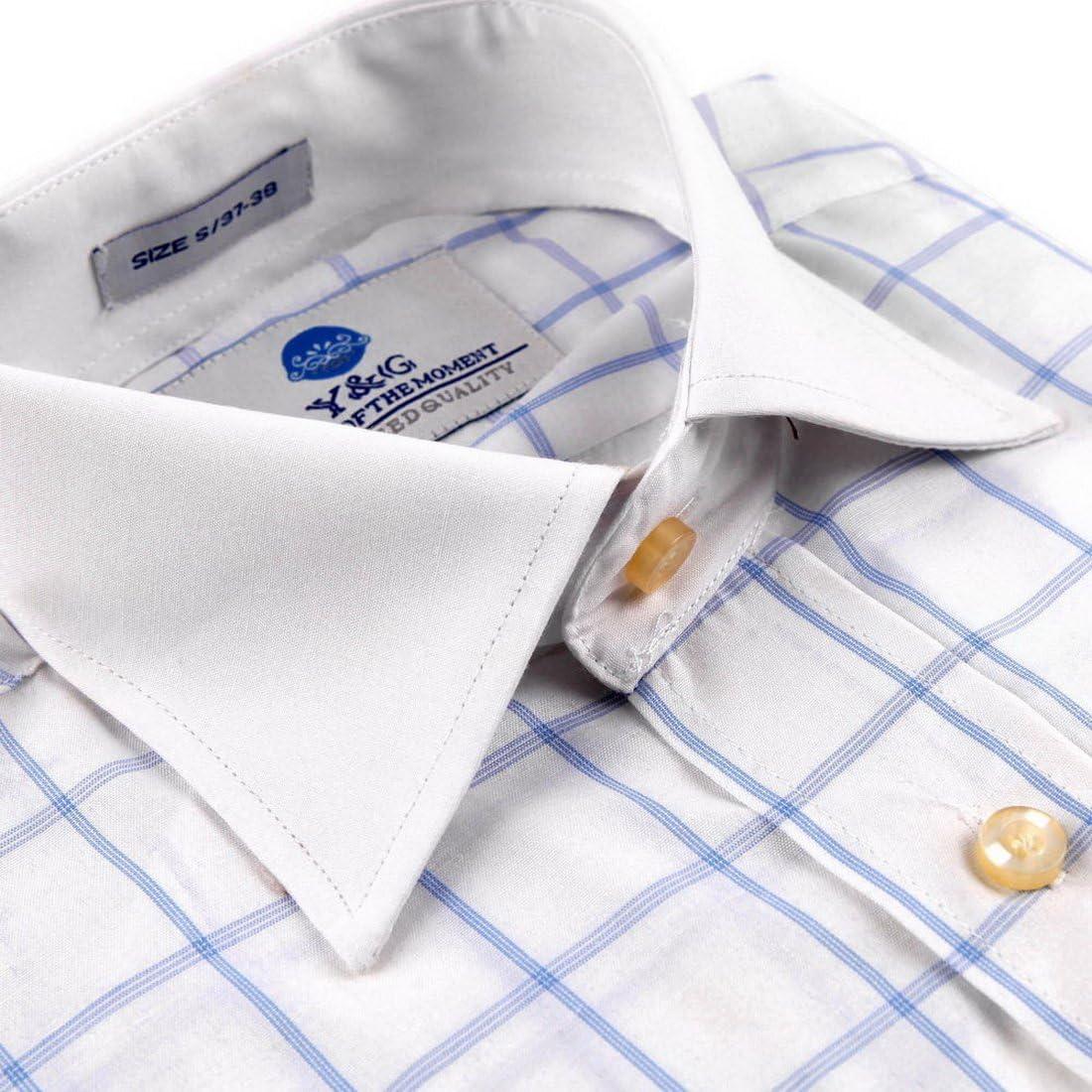 Y/&G YMA01B Multi Checkered Dress Shirt for Husband Cotton Cuff Shirt