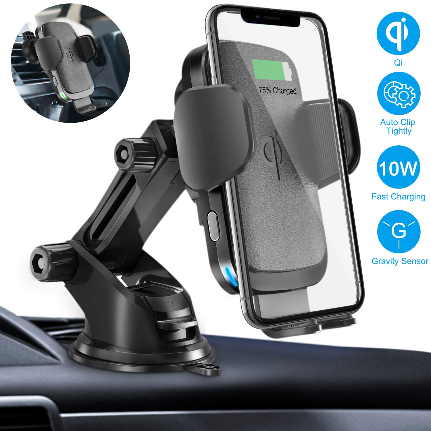 Wireless Car Charger Mount, Cshidworld Auto Clamping 10W/7.5W Qi Fast Charging Car Mount, Windshield Dashboard Air Vent Phone Holder Compatible with iPhone Xs Max XR 8 Plus, Samsung S10 S9 S8, LG V30 by Cshidworld