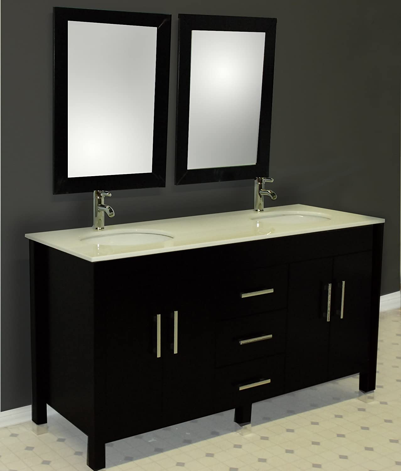 Solid wood bathroom cabinets - Amazon Com 62 Inch Espresso Solid Wood Double Bathroom Vanity Set Charles Brushed Nickel Faucets Home Kitchen