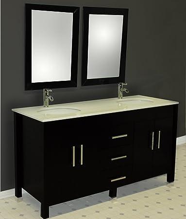 Wonderful 62 Inch Espresso Solid Wood Double Bathroom Vanity Set  U0026quot;Charlesu0026quot;  (Brushed