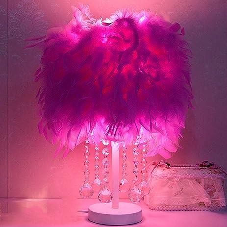 Amazon.com: LU-Table lamp Crystal feathers warm table lamp living ...