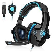 GHB Sades Auriculares Gaming Cascos con Microfono SA-901 Sonido Envolvente 7.1 con USB para PC Ordenador Portátil Azul y…