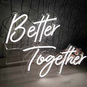 Divatla Better Together Neon Sign for Backdrop, Photo Prop, Photo Boot, White Neon Sign Size23.5x10inches+17.3 x8.7inches, White Led Neon Signs for Party Office Training Room Wall Decorations