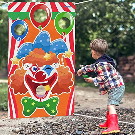 Toyvian Carnival Toss Games with 3 Bean Bag,Fun Carnival Game for Kids and Adults in Carnival Party Activities,Farm Animals Theme Party Decorations