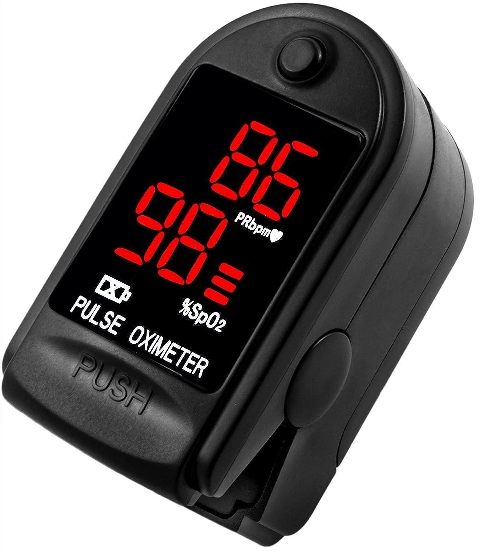 AVAX 50DL - Oxímetro de pulso de dedo - %SpO2 (saturación de oxígeno en sangre) & Monitor de ritmo cardíaco - COPD - con instrucciones, cordón y funda de ...