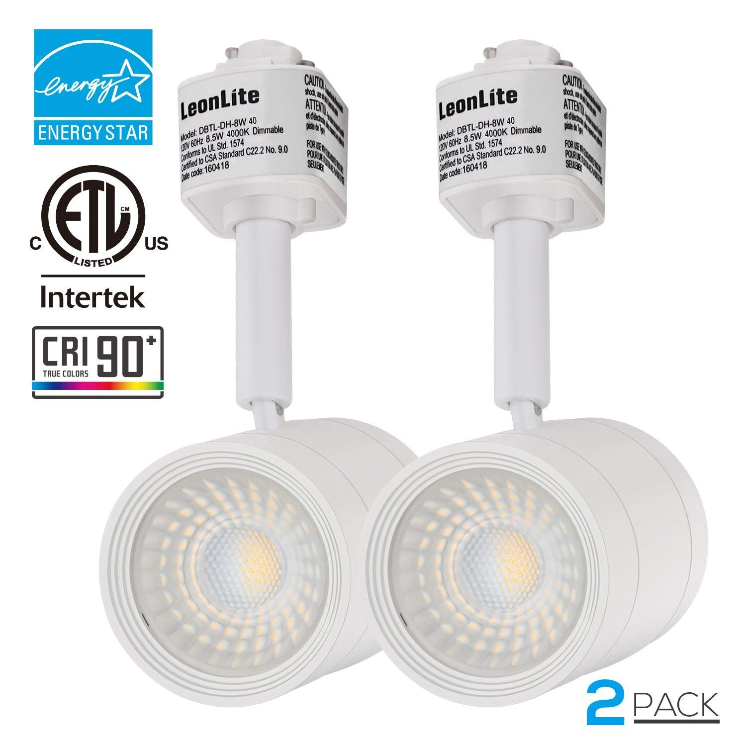 2 PACK 8.5W(50W Equiv.) Integrated CRI90+ LED Track Light Head, Dimmable 38° Spotlight Track Light, 500lm ENERGY STAR ETL-Listed for Accent Task Wall Art Exhibition Retail Lighting, 4000K Cool White