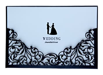 black laser cut 10 wedding invitations with blank insert card and