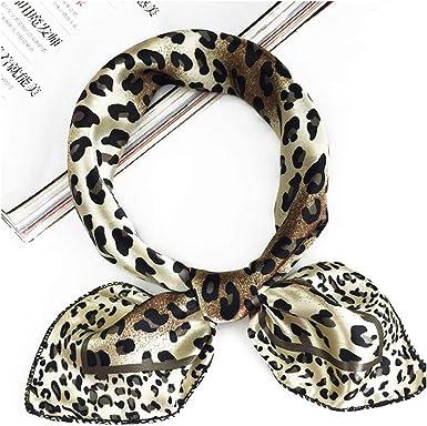 Shawl Scarves Silk Feel Satin Square Scarf Neck Tie Leopard Printed