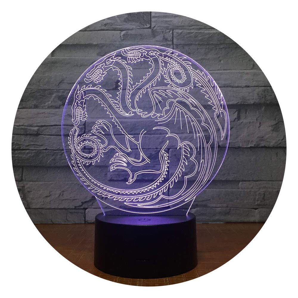 JINXUXIONGDI Visual Stereo Vision 3D Dragon Totem Round Night Light LED7 Color Touch Table Children Sleep Night Light Children's Decoration
