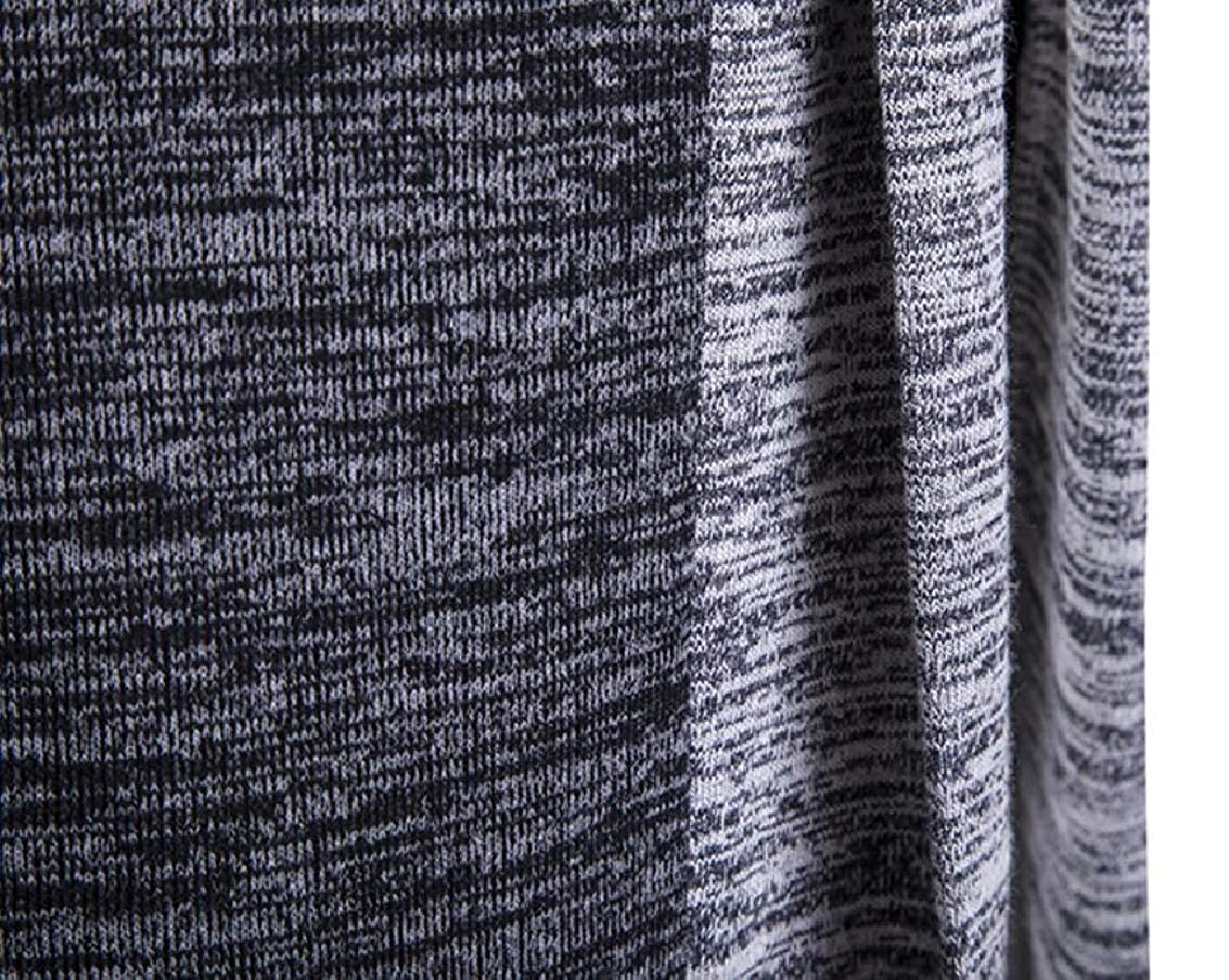 Jaycargogo Men Patchwork Long Sleeve Knitted Hit Color Mid Long Stylish Cardigan