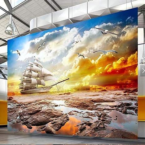 Weaeo 3d Photo Wallpaper Murale Sfondi Per Soggiorno Mare Paesaggio