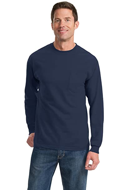 ecd5843a Port & Company Men's Long Sleeve Essential T Shirt with Pocket 3XL Navy