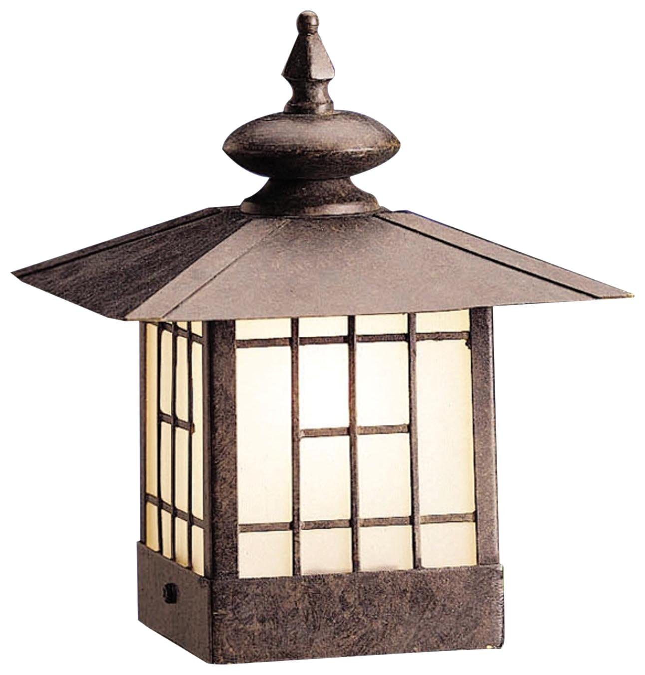 Kichler Lighting 15048PZ Mission Post Light 12-Volt Deck and Patio Light, Patina Bronze with Satin-Etched Glass