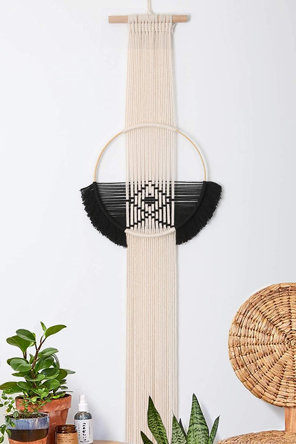 "Flber Outlet Geometric Hanging Macrame Wall Hanging Circle Boho Décor,12"" Wx 48"" L"