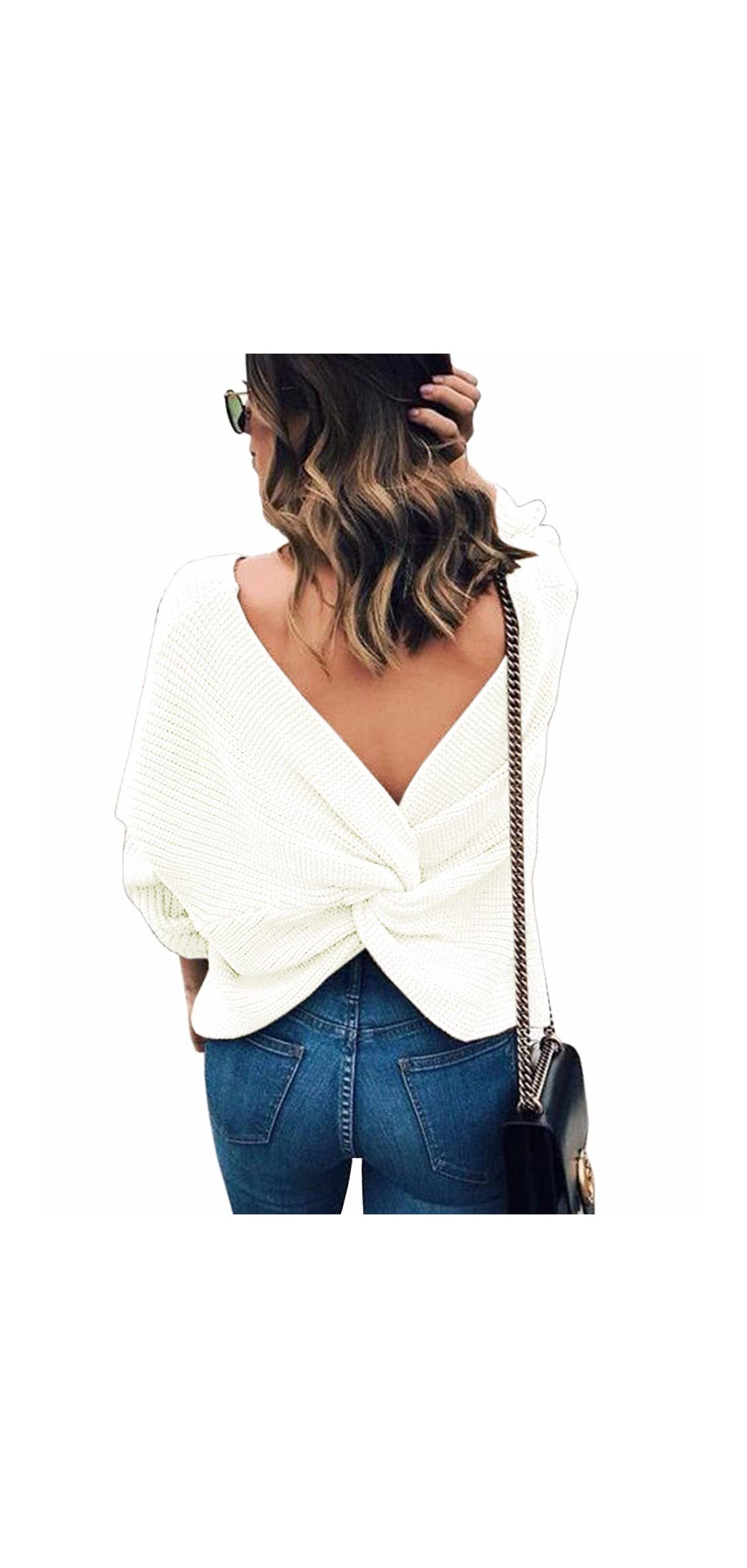 Women's Casual V Neck Criss Cross Backless Long Sleeve