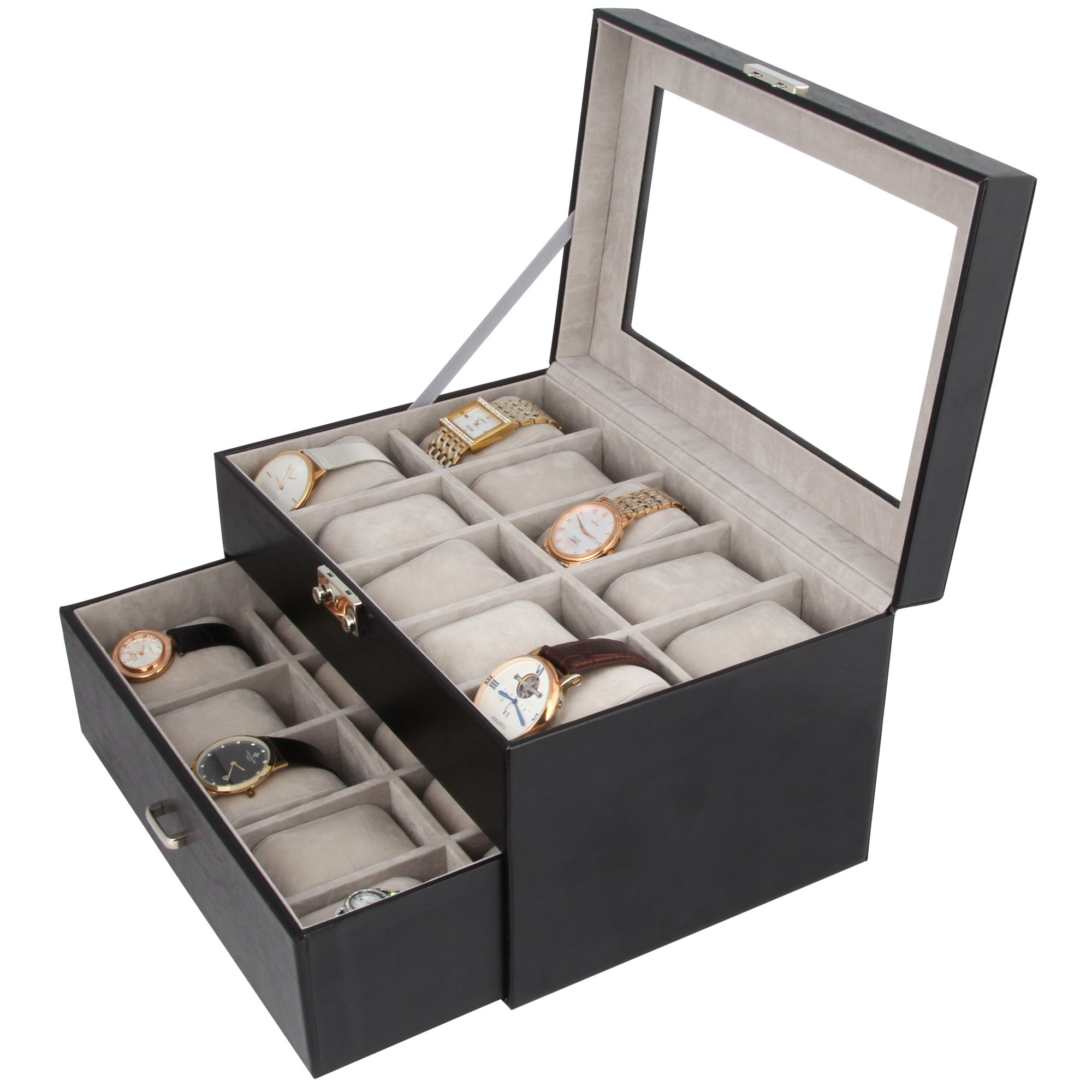 Kendal Watch Case Display Box With Clear Top Holds 20 Watches lock w/key