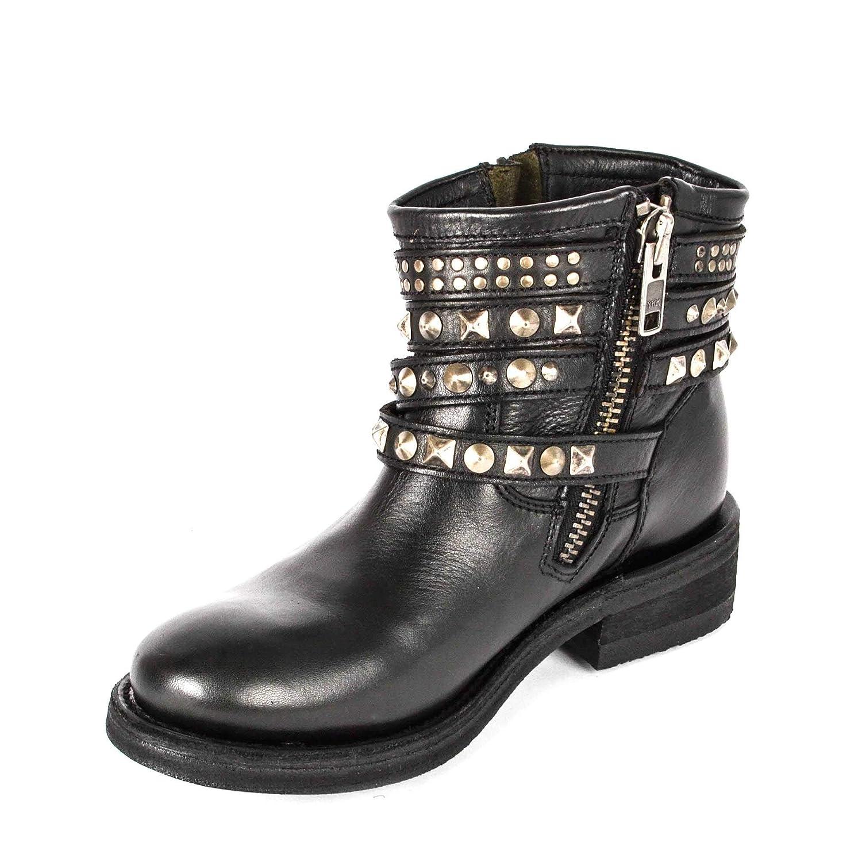 ASH Silbernen Footwear Tatum Schwarze Lederstiefel mit Silbernen ASH Nieten - Frau d0fbe9