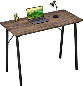 Computer Desk for Small Spaces Kids Writing Desk Students Study Table Home Office Wood Work Desk for Corner Bedroom Modern Portable Laptop Desk for School PC Gaming, Walnut Brown