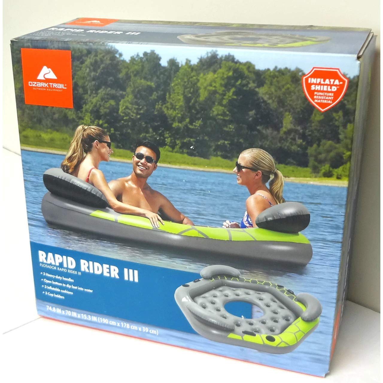 Amazon.com: Ozark Inflatable 3 Person Rapid Rider Tube Island Float Water Raft River Lake GREEN WLM8: Kitchen & Dining
