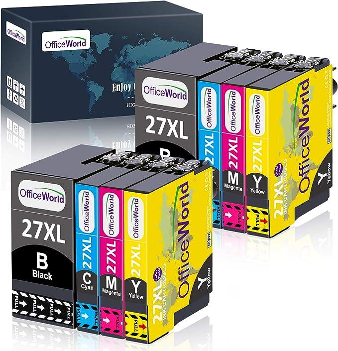 Imagen deOfficeWorld 27XL Multipack Cartuchos de Tinta Reemplazo para Epson 27 XL para Epson Workforce WF-3620 WF-7620 WF-7610 WF-3640 WF-7110 WF-7210 WF-7710 WF-7715 WF-7720 WF-3620DWF WF-7710DWF WF-7715DWF