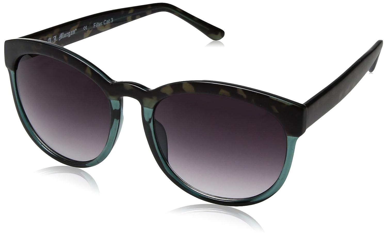 13d4dd1be17 A.J. Morgan Women s Endearing Round Sunglasses Dark Tortoise Teal 56 mm