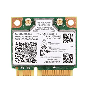 Richer-R Tarjeta WLAN, Tarjeta WiFi para Lenovo, para Intel 7260 BN 802.11b / g/n 04W3815 Módulo de Tarjeta WiFi Mini PCI-E para Lenovo Y510P Y410P ...