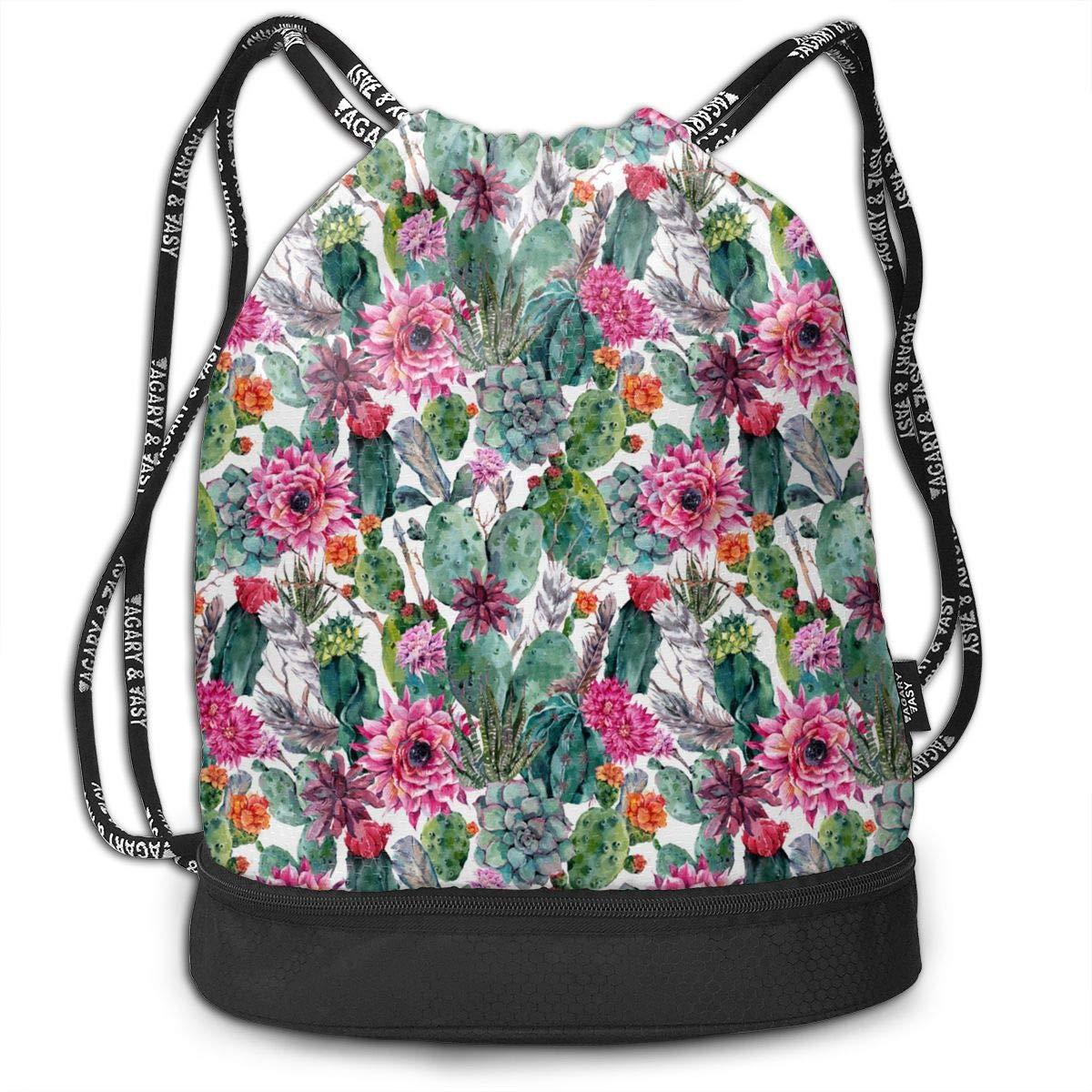 Cool Drawstring Backpack Cactus Print Drawstring Backpack Rucksack Shoulder Bags Gym Bag
