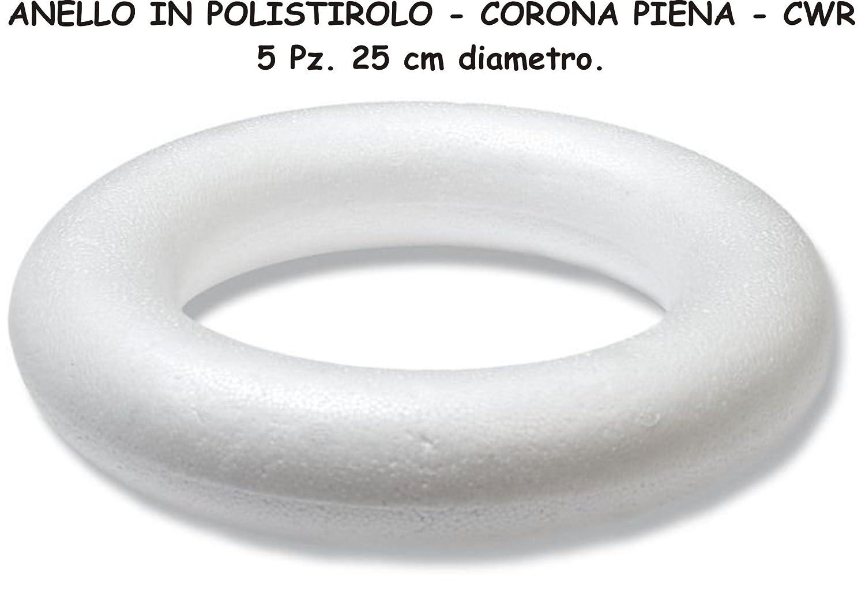 POLISTIROLO ANELLI CORONA PIENA 5 Pz. 25 cm diam. HOBBY CREATIVI CWR
