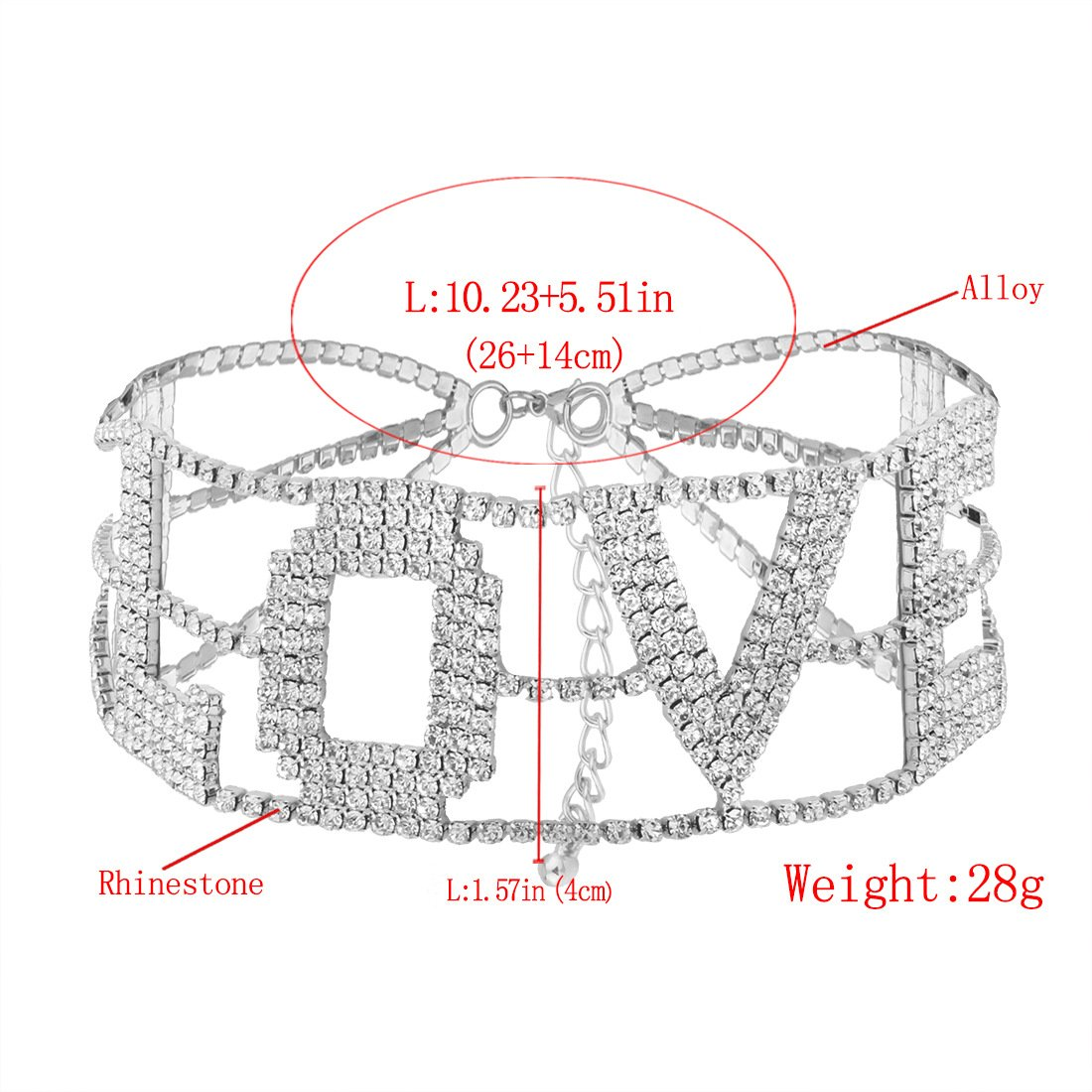 MengPa Rhinestone Choker Necklace for Women Fashion Letter Love Collar Wedding Jewelry Gold by MengPa (Image #6)