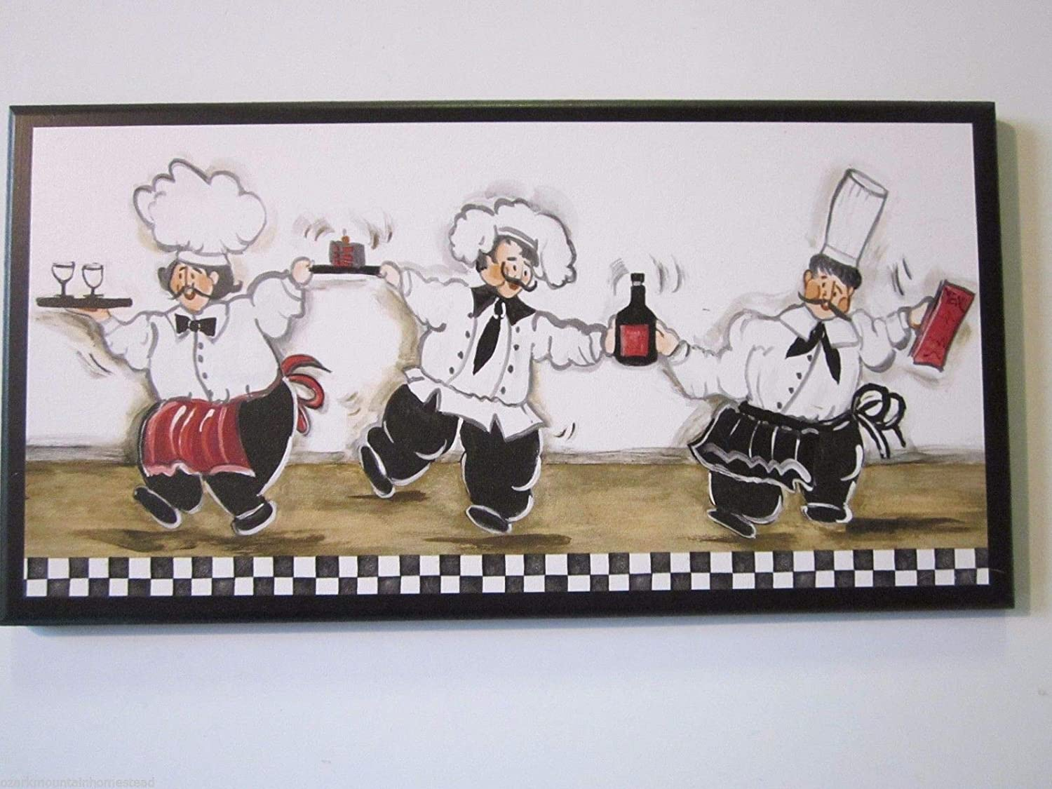 Chef Kitchen Plaque, Bistro French Chefs, Dancing with Wine, White Black Red - Wood Wooden Picture Wall Decor Sign Hanging Unique Unusual Gift Handcrafted Handmade USA America