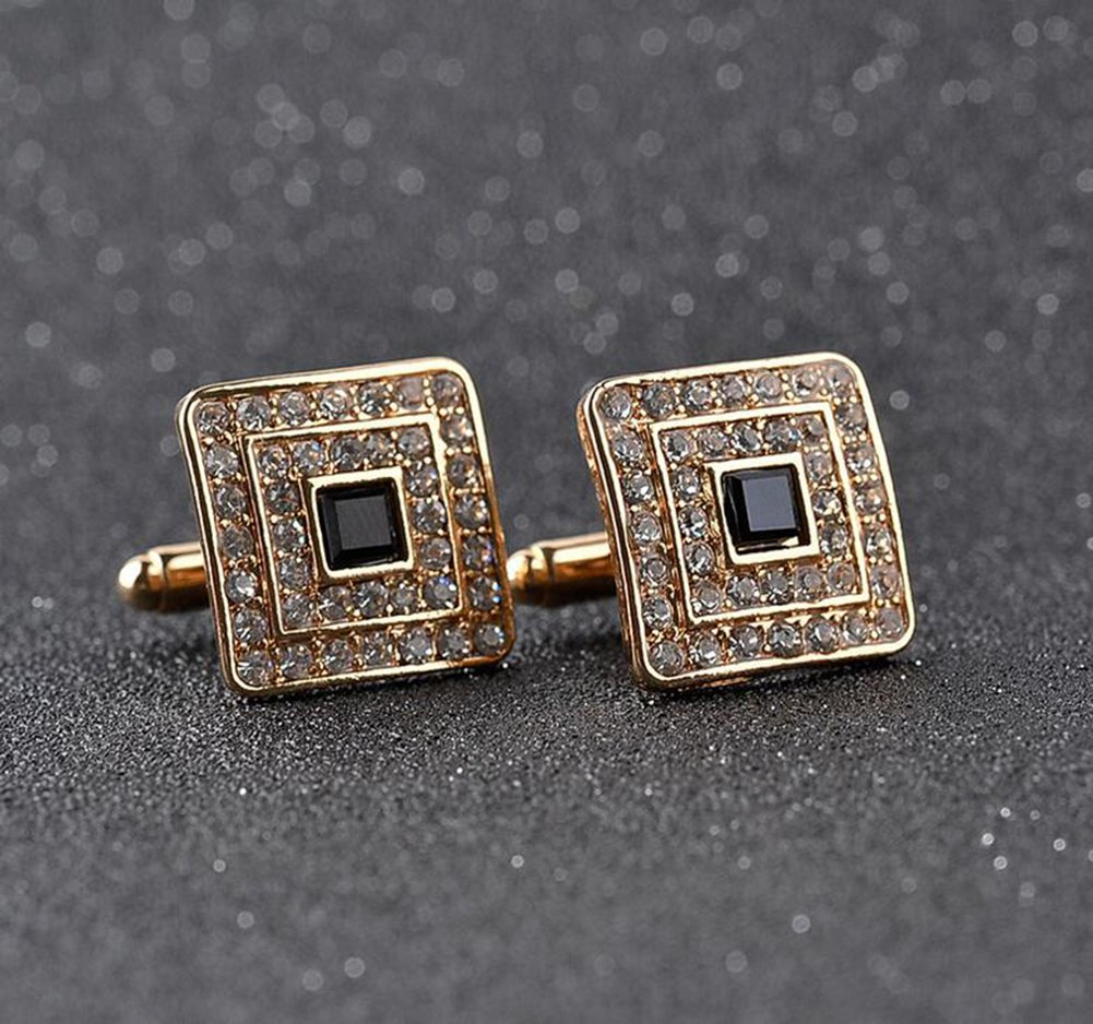 Da.Wa Men Enamel Diamond Inset Cufflinks Classic Tuxedo Shirt Suit Cuff Links Stud (Gold) by Da.Wa (Image #3)