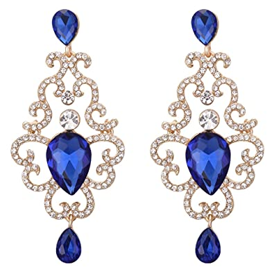 Clearine Women's Bohemian Boho Fashion Crystal Cluster Floral Chandelier Dangle Earrings rev699Zn7