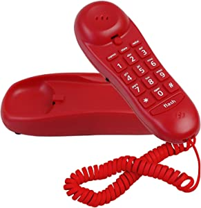 Slimline Red Colored Phone for Wall Or Desk with Memory