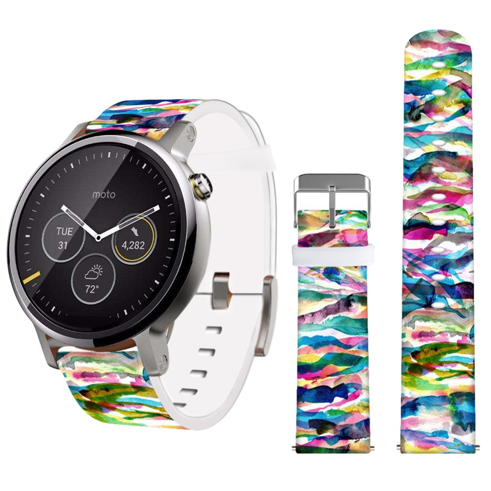 22mm Band,Jolook Leather Band for Samsung Gear S3 Classic/S3 Frontier/Gear 2 Neo and Other Bands Watch That Uses 22mm Spring Bars-Rainbow Art 22mm