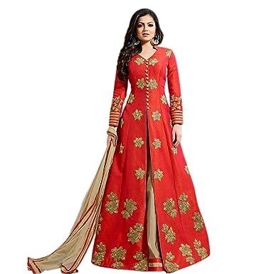 334edfe410 SHAFNUFAB Red Art Silk Anarkali Gown Semi-Stitched Suit: Amazon.in ...