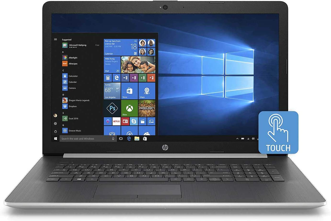 "2019 HP Laptop Computer 17.3"" HD+ Touchscreen 8th Gen Intel Quad-Core i7-8565U up to 4.6GHz 16GB DDR4 RAM 1TB SSD + 1TB HDD DVDRW Intel UHD Graphics 620 WiFi Bluetooth 4.2 HDMI Windows 10"