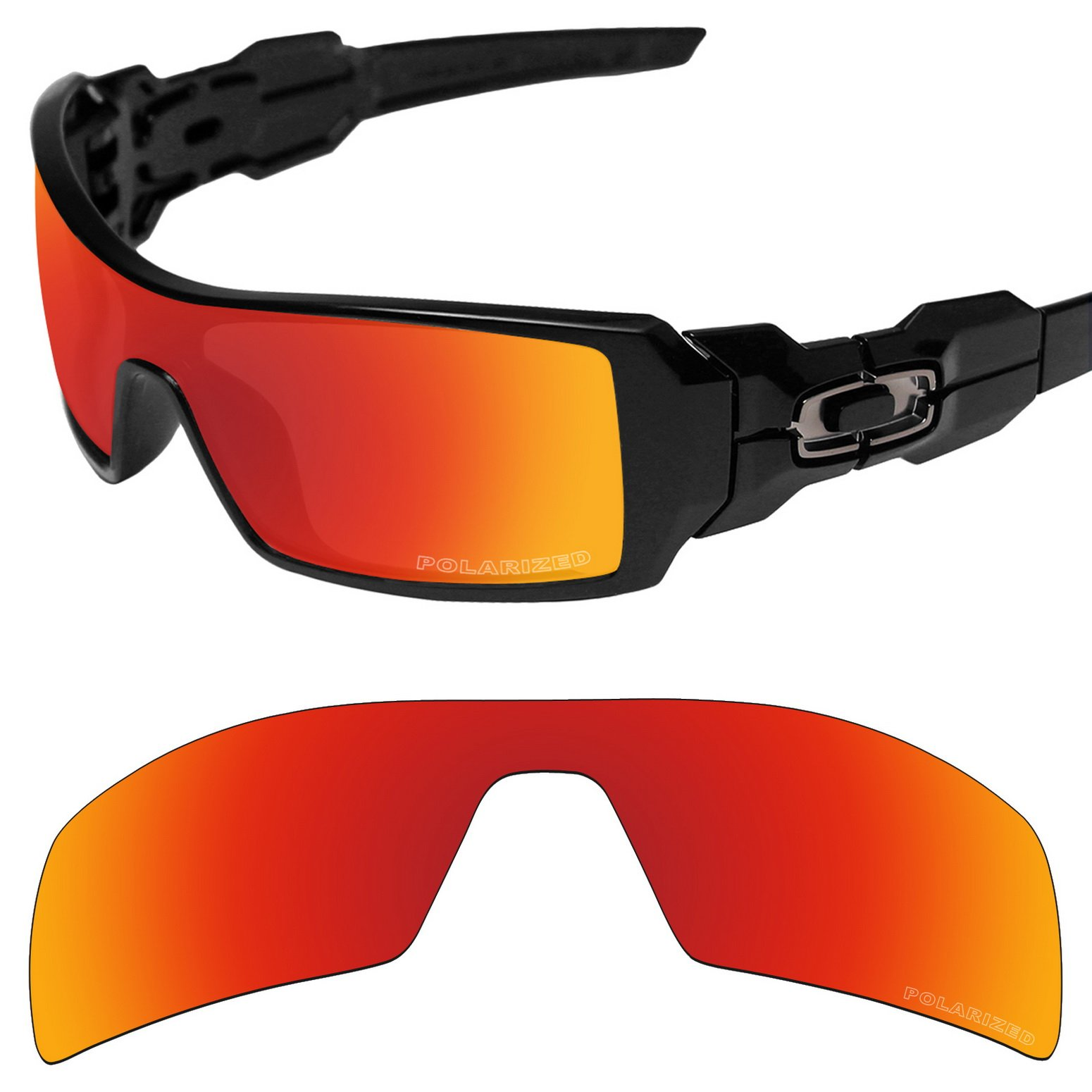 Tintart Performance Replacement Lenses for Oakley Oil Rig Sunglass Polarized Etched-Fire Red by Tintart