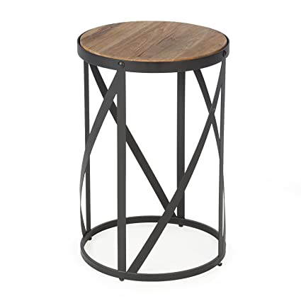 b8acb66b57 Amazon.com: Rustic Industrial Modern Farmhouse Natural Reclaimed Wood Black Metal  Round End Table Side Table Accent Table Owen Collection: Kitchen & Dining