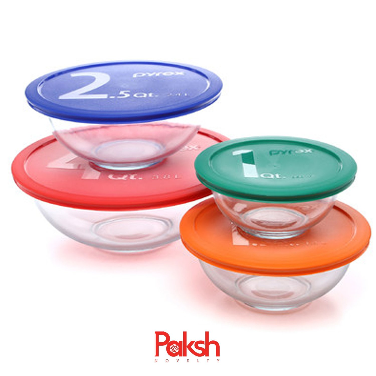 Amazon.com: 8-Piece Glass Mixing Bowls With Lids | Glass Food ...