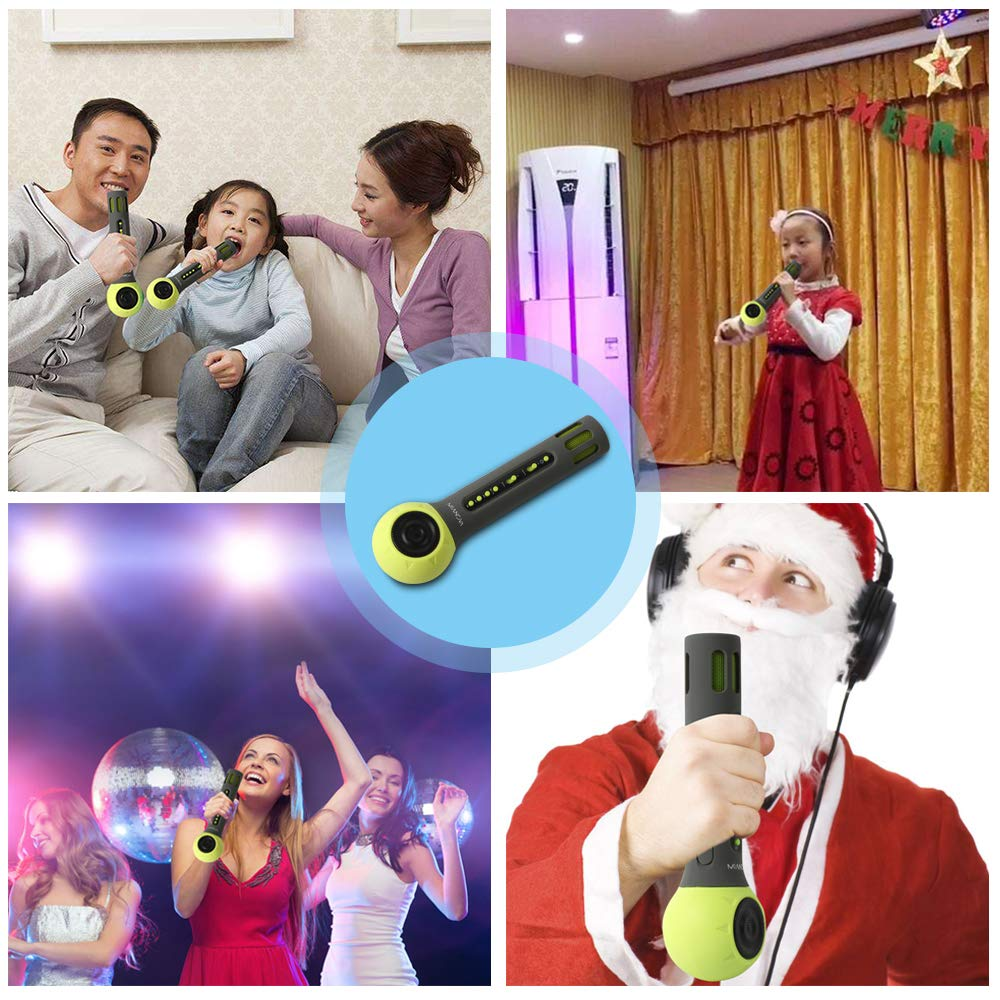 Wireless Bluetooth Kids Karaoke Microphone with Carrying Case,MIANOVA Build-in 2000mAh Colorful Silicone Surface Karaoke Machine for Kids.IOS & Android Smartphone,TF Card,AUX-In Supported (Kid-Green) by UD (Image #6)