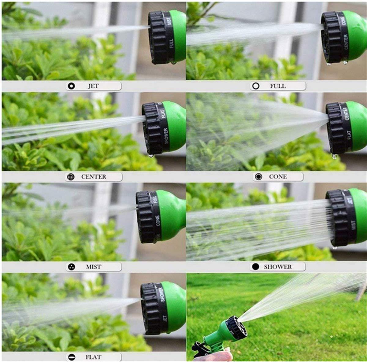 Marbeine Manguera de riego Flexible y Extensible con 7 Funciones 25FT: 7,5 m, Azul Pistola para riego y Limpieza de jard/ín