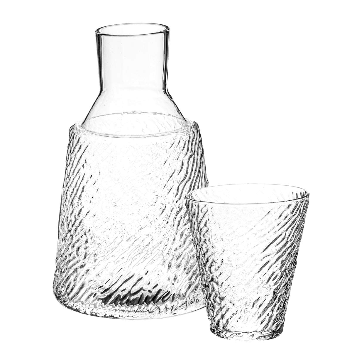 Trinkware Bedside Night Carafe With Tumbler Glass Zebra Striped Etching 2 Piece Water Set