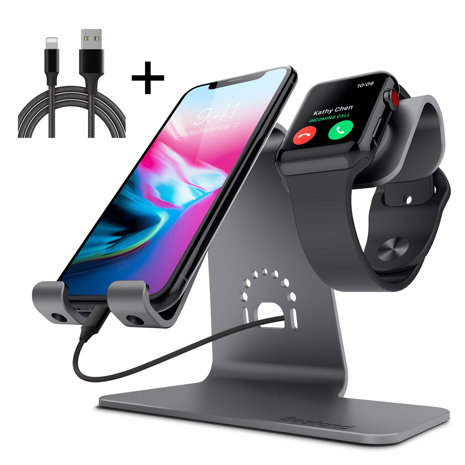 Bestand 2 in 1 Charging Stand Holder for Apple iwatch Phone Desktop Tablet Dock for Apple Watch/iPhone X/8Plus/8/7 Plus/iPad (Space Grey)