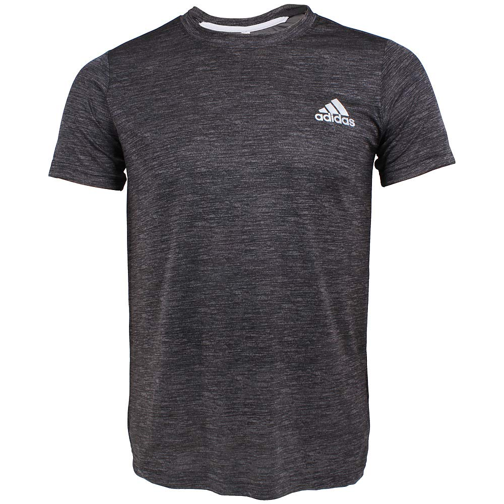 Men's Crew Neck 100% Polyester Active T-Shirt (Small, Black/Gray)
