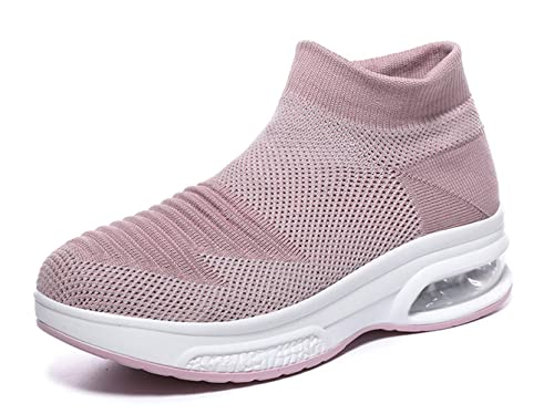 383ad1c9348f9 TSIODFO Womens Platform Wedge Fashion Sneakers Breathable Comfort Slip on  Athletic Walking Shoes
