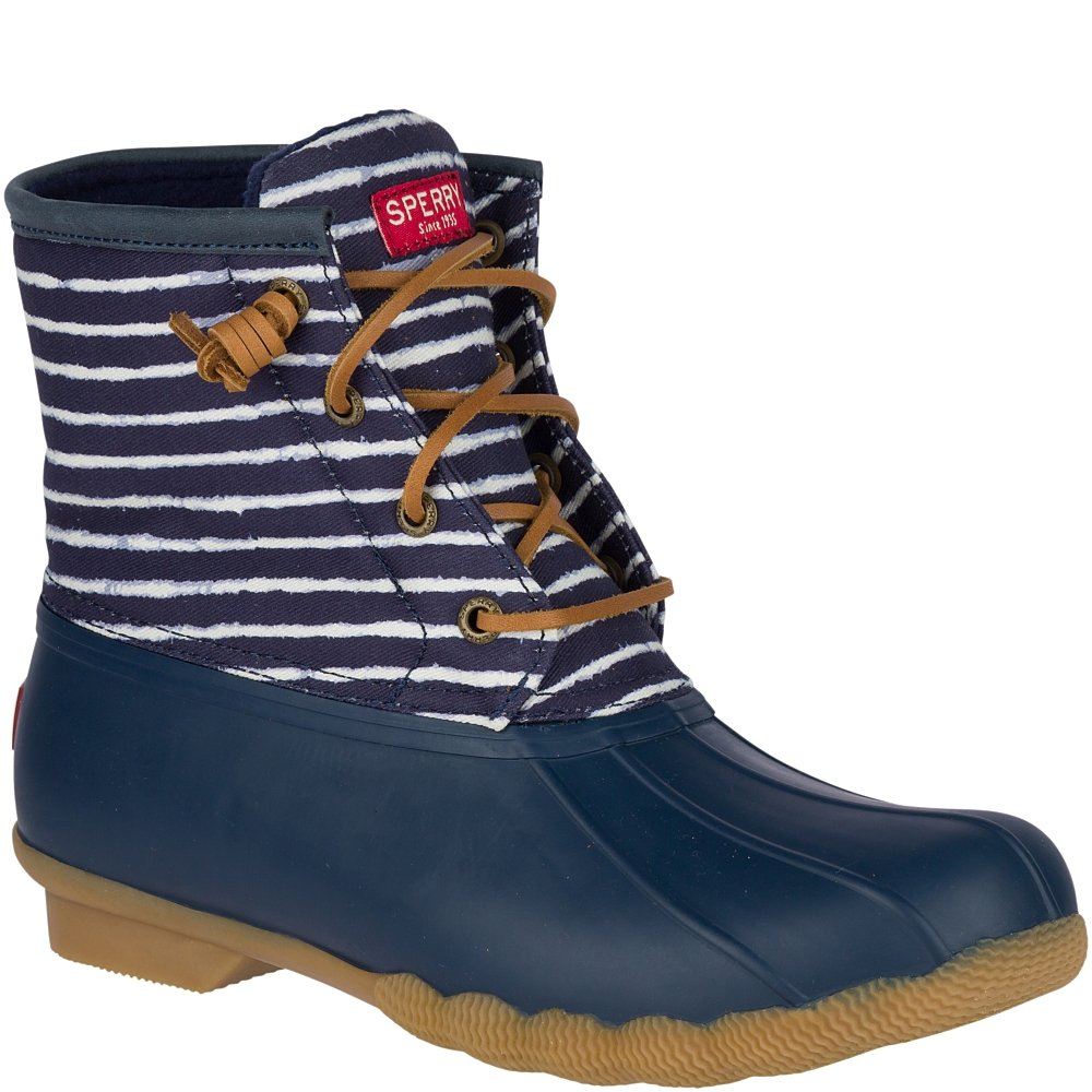 Sperry Top-Sider Women's Saltwater Prints Rain Boot B078SH9TLS 7 B(M) US|Indigo Stripe