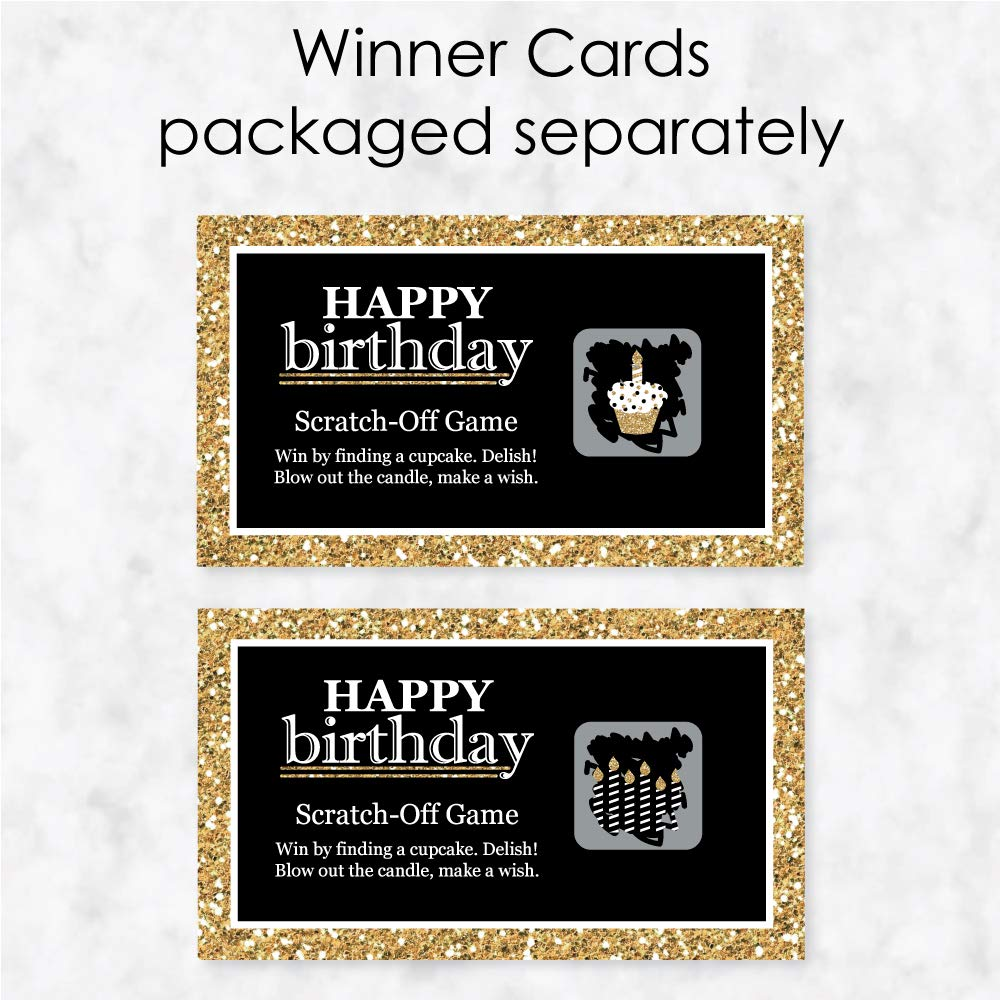 22 Count Gold Big Dot of Happiness Adult Happy Birthday Birthday Party Game Scratch Off Cards
